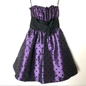 NWT Betsey Johnson Polka Dot Cocktail Dress Purple